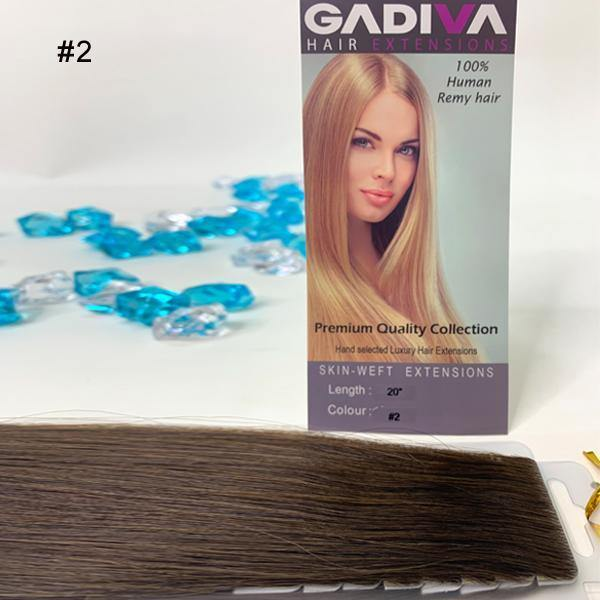 "20"" Skin Weft Tape Hair Extensions - #2 - Gadiva Hair Extensions - Blakk Hair Extensions"