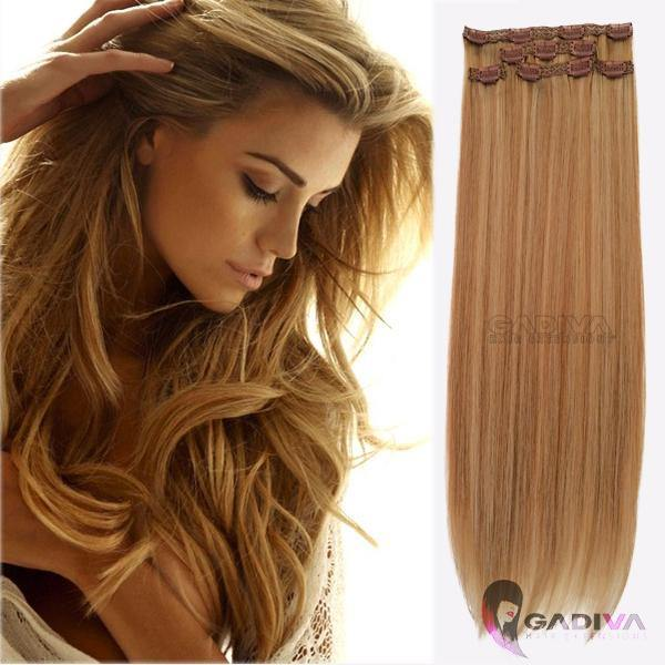"20"" hair extensions clip in - #9B/22F - Gadiva Hair Extensions - Blakk Hair Extensions"