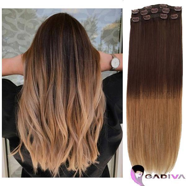 "20"" Hair Extensions BALAYAGE- #T4-7B - Gadiva Hair Extensions - Blakk Hair Extensions"