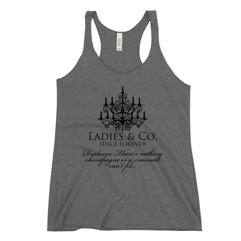 Ladies & Co.  Champagne & Croissant Women's Racerback Tank
