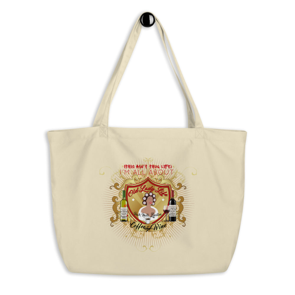 Old Lady Life Large 100% Organic Cotton Tote Bag