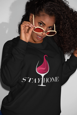 Stay Home Comfy Round Neck Unisex Drinking Sweatshirt