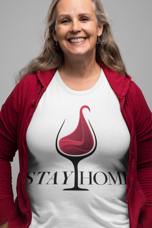 Stay Home Comfy Round Neck Drinking Unisex T-Shirt - White