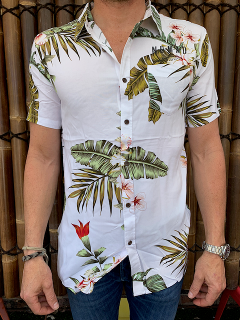 Mens - Hawaiian Shirt - White Floral