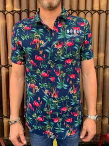 Mens - Hawaiian Shirt - Blue Flamingo