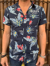 Load image into Gallery viewer, Mens - Hawaiian Shirt - Dark Blue Flower Design