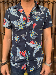 Mens - Hawaiian Shirt - Dark Blue Flower Design