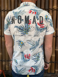 Mens - Hawaiian Shirt - White Flora Design
