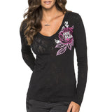 Metal Mulisha Juniors Alternative Burnout Long Sleeve Top Black