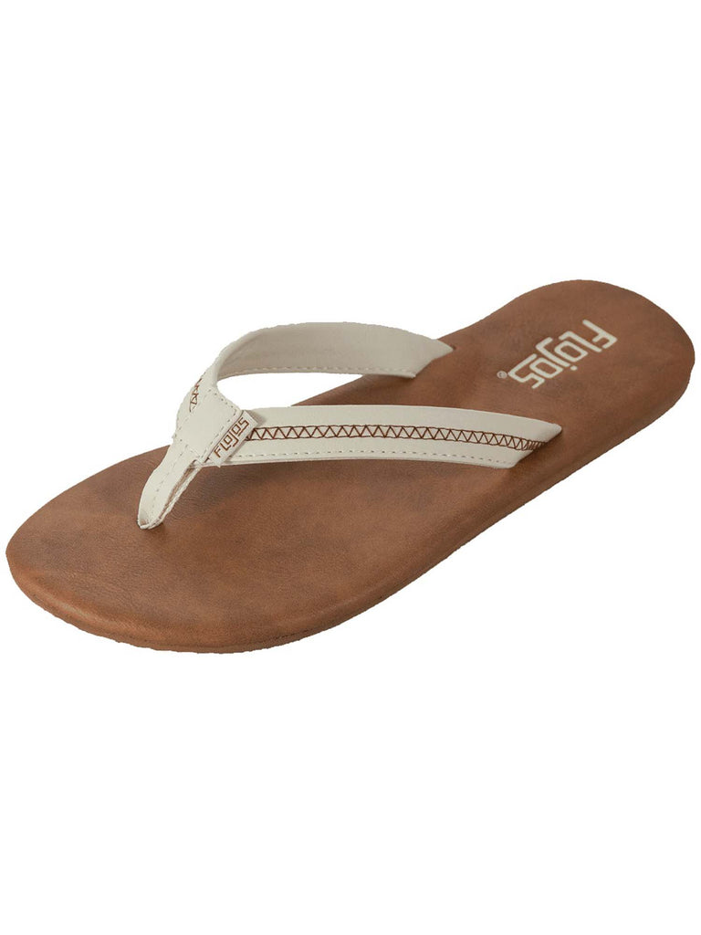 Flojos Women's Claire Thin Profile Thong Sandals Ivory Tan