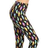 Vulcinity Colorful Feather Print Leggings