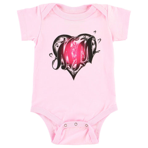 Metal Mulisha Infant Baby Cross My Heart Pink Onesie