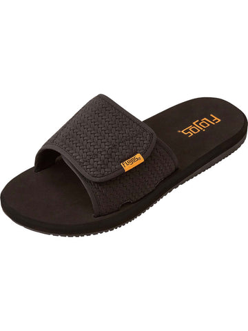 Flojos Men's Duke Hook and Loop Fastener Black Weave Sandals