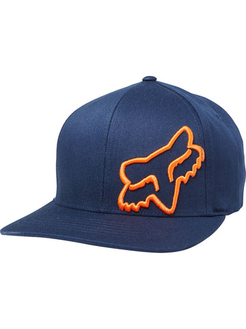 Fox Racing Men's Flex 45 Flexfit Hat in Navy and Navy/Orange