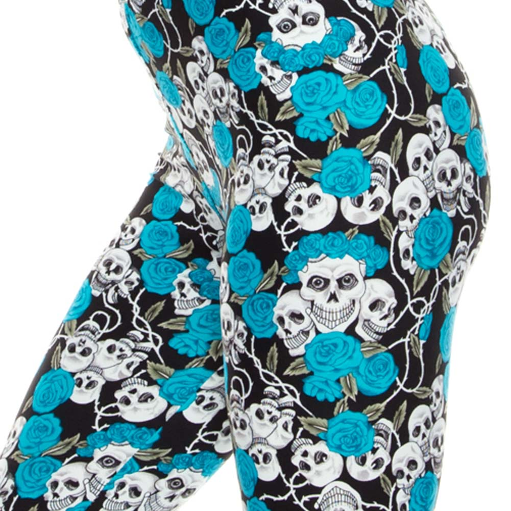 Vulcinity Flowers and Skulls Print Leggings