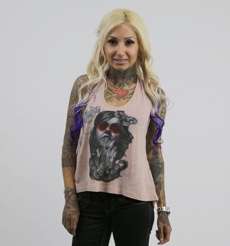 Sullen Angels PINK Moth Lady Slub Lace Back Tank Top with Sugar Skull Design