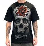 Sullen Mens Hidden Beauty Skull With Rose Tee