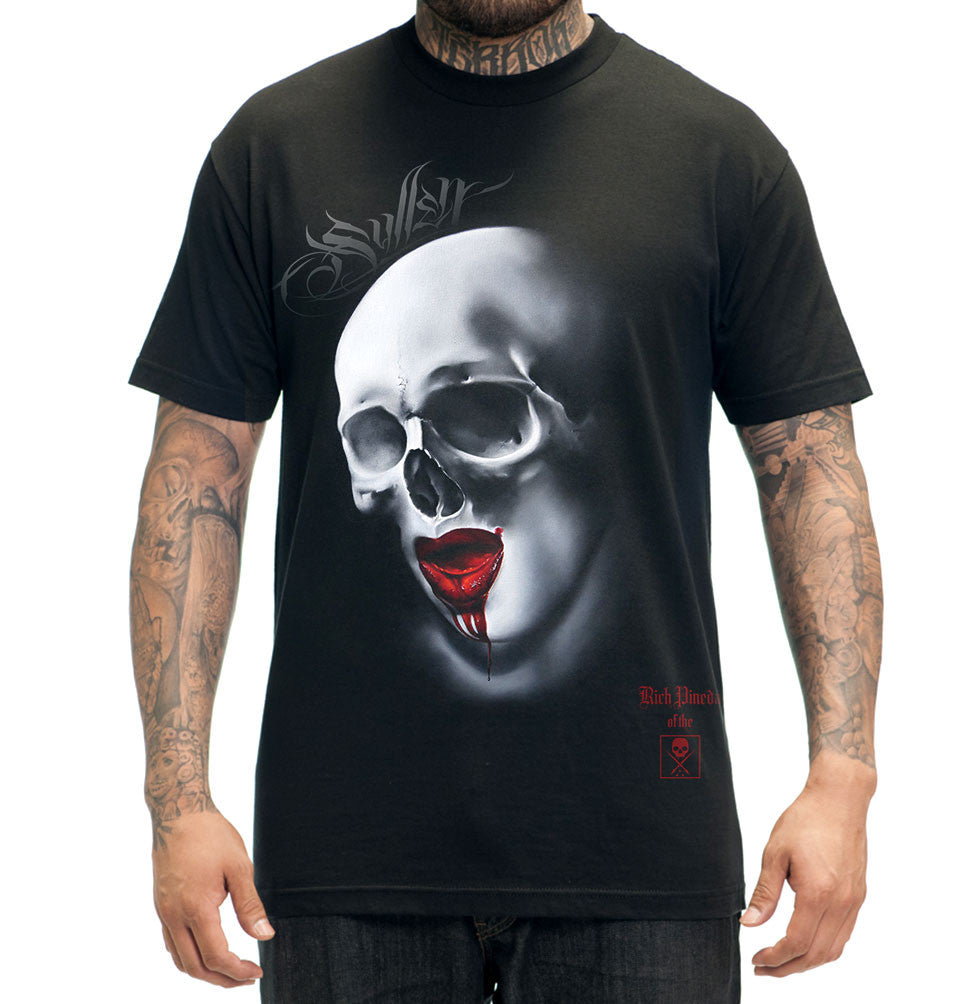 "Sullen ""Rich Pineda"" Mens Skull with Red Lips Tattoo Design Tshirt"