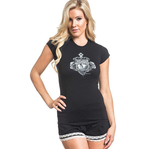 Sullen Angels Women's Royal Heart Short Sleeve T-shirt