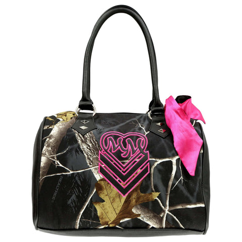 Metal Mulisha Women's Shadowy Realtree Camo Purse with Pink Bow