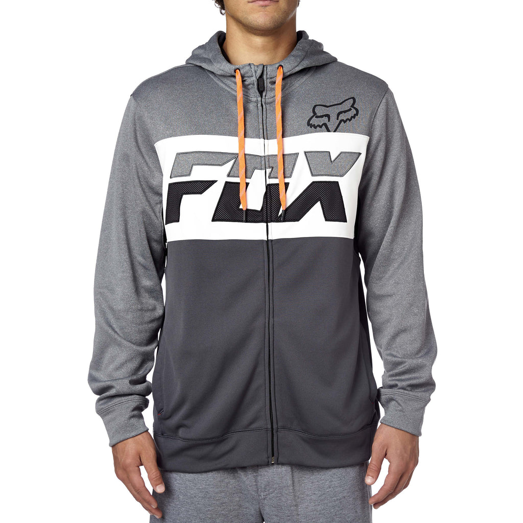 Fox Racing Men's Tearoff Zip Up Fleece Hoodie Grey