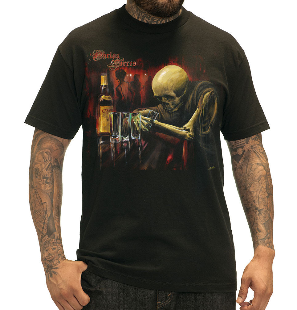 "Sullen ""Torres"" Skeleton Drinking Mens Tattoo Design Tshirt"
