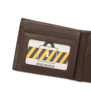 WILD CHANNEL GENUINE LEATHER RFID SHORT WALLET NW 001-3 KHAKI