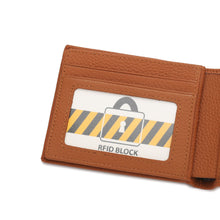 Load image into Gallery viewer, WILD CHANNEL GENUINE LEATHER RFID SHORT WALLET NW 002-5 LIGHT BROWN