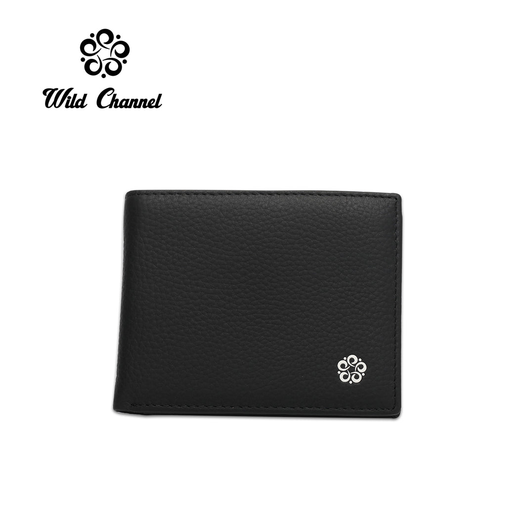 WILD CHANNEL GENUINE LEATHER RFID SHORT WALLET NW 003-2 BLACK