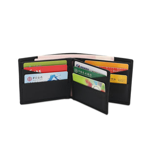WILD CHANNEL GENUINE LEATHER RFID SHORT WALLET NW 003-3 BLACK