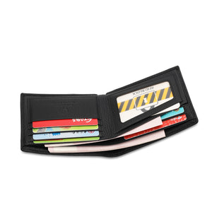 WILD CHANNEL GENUINE LEATHER RFID SHORT WALLET NW 003-6 BLACK