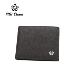 WILD CHANNEL GENUINE LEATHER RFID SHORT WALLET NW 004-2 DARK BROWN