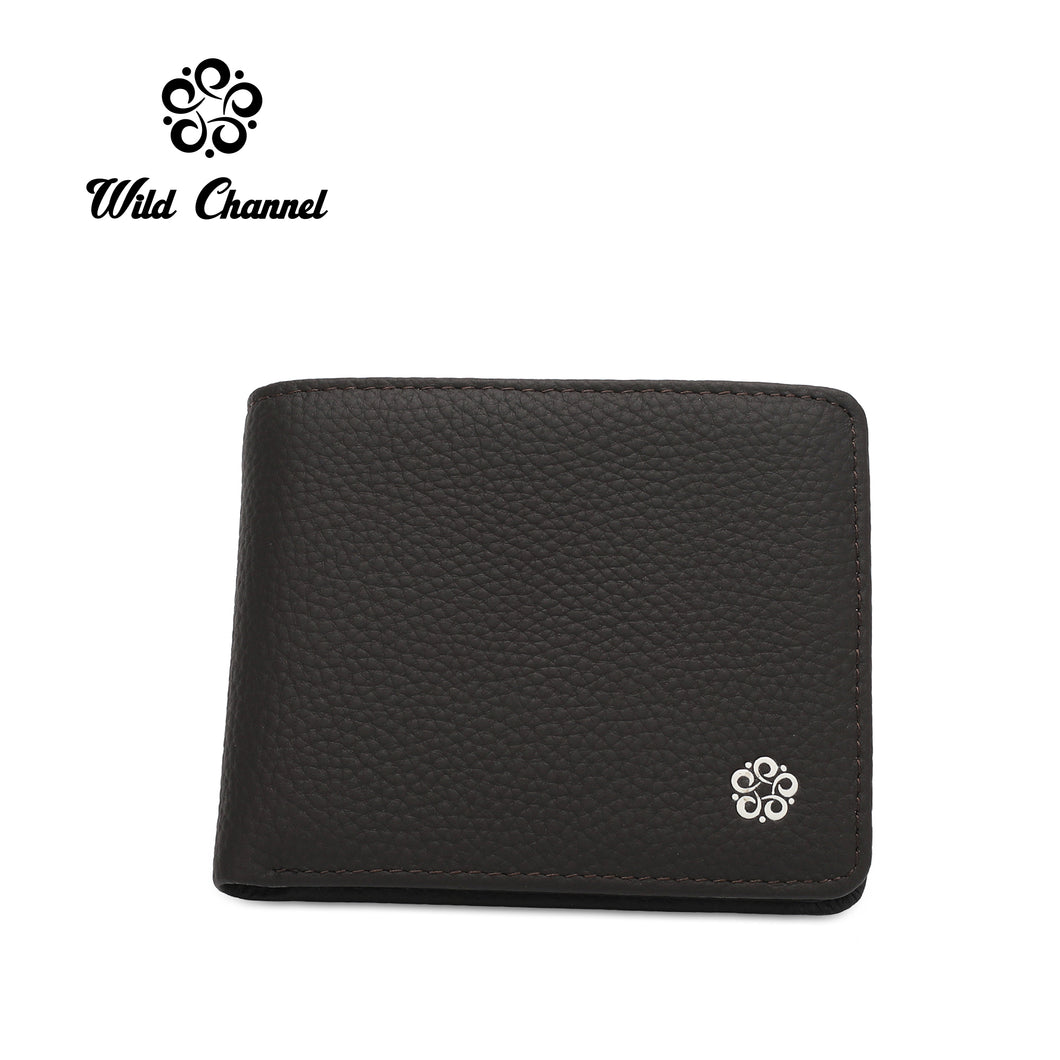 WILD CHANNEL GENUINE LEATHER RFID SHORT WALLET NW 004-4 DARK BROWN