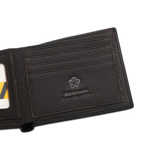 WILD CHANNEL GENUINE LEATHER RFID SHORT WALLET NW 004-6 DARK BROWN