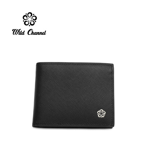 WILD CHANNEL GENUINE LEATHER RFID SHORT WALLET NW 007-2 BLACK