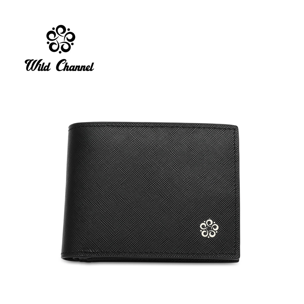 WILD CHANNEL GENUINE LEATHER RFID SHORT WALLET NW 007-3 BLACK
