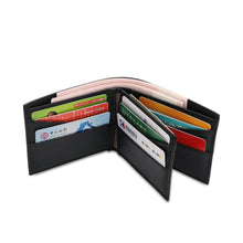 Load image into Gallery viewer, WILD CHANNEL GENUINE LEATHER RFID SHORT WALLET NW 007-3 BLACK