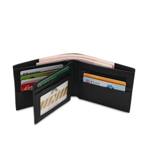 WILD CHANNEL GENUINE LEATHER RFID SHORT WALLET NW 007-5 BLACK