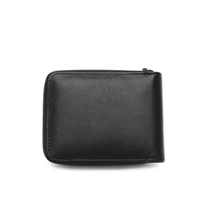 WILD CHANNEL GENUINE LEATHER RFID ZIPPER SHORT WALLET NW 015-7 BLACK