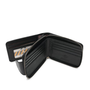 WILD CHANNEL GENUINE LEATHER RFID ZIPPER SHORT WALLET NW 015-8 BLACK