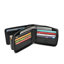Load image into Gallery viewer, WILD CHANNEL GENUINE LEATHER RFID ZIPPER SHORT WALLET NW 015-8 BLACK