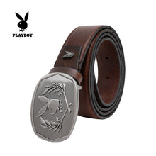 Load image into Gallery viewer, PLAYBOY GENUINE LEATHER 35MM PIN BUCKLE BELT PAB 330-1 DARK BROWN