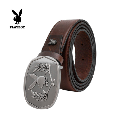 PLAYBOY GENUINE LEATHER 35MM PIN BUCKLE BELT PAB 330-1 DARK BROWN