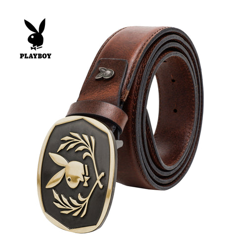 PLAYBOY GENUINE LEATHER 35MM PIN BUCKLE BELT PAB 330-2 DARK BROWN