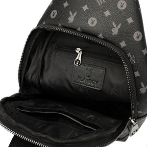 PLAYBOY MONOGRAM CHEST BAG PLC 920-1 BLACK