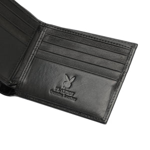 PLAYBOY MONOGRAM RFID BI-FOLD WALLET PW 235-4 BLACK