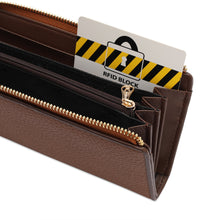 Load image into Gallery viewer, PLAYBOY GENUINE LEATHER RFID ZIPPER LONG WALLET PW 259-2 BROWN