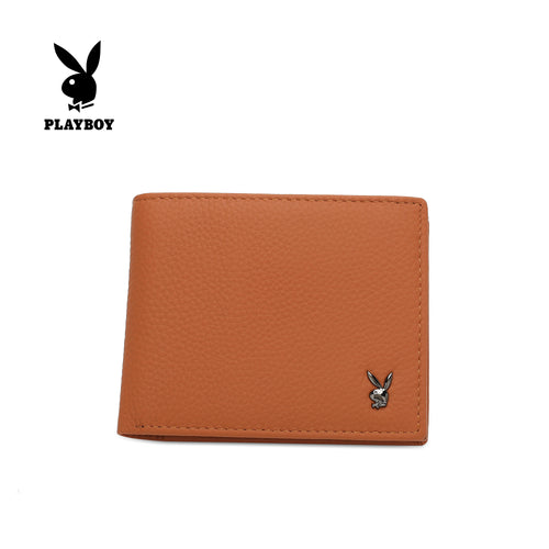 PLAYBOY GENUINE LEATHER RFID SHORT WALLET PW 261-5 LIGHT BROWN