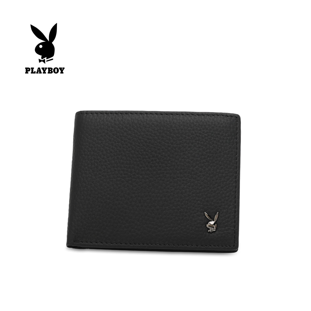 PLAYBOY GENUINE LEATHER RFID SHORT WALLET PW 262-5 BLACK