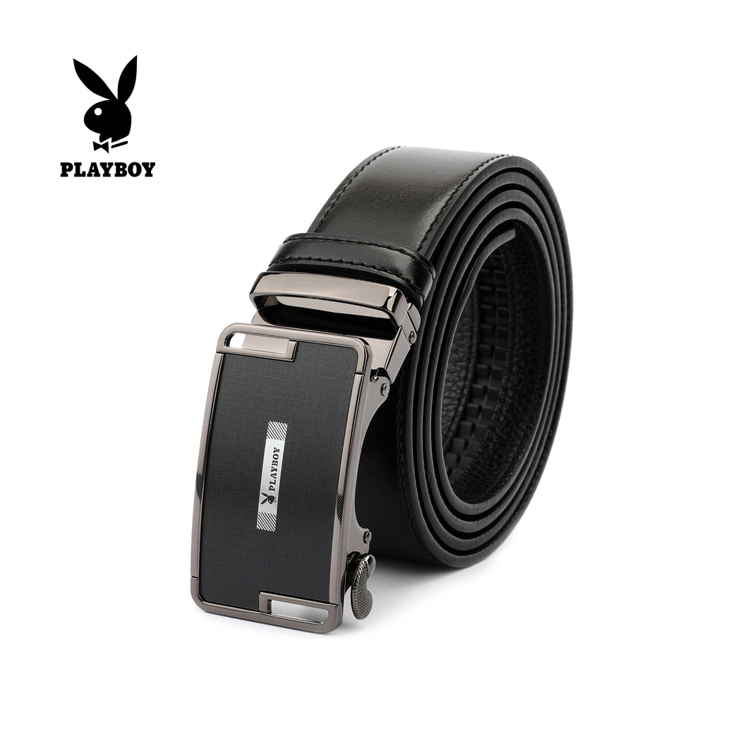PLAYBOY 40MM GENUINE LEATHER AUTO BELT PAB 309-3 BLACK